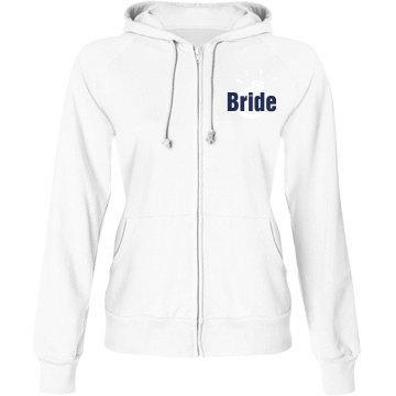Bride Hoodie with Back Junior Fit Bella Fleece Raglan Zip Hoodie