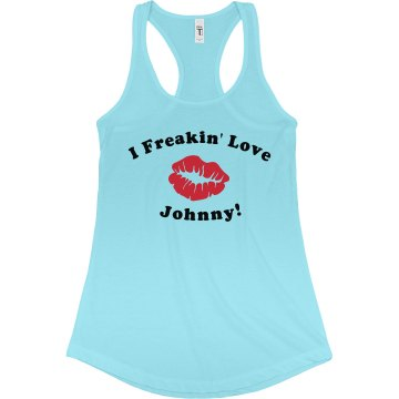 I Freakin' Love Johnny Junior Fit Bella Sheer Longer Length Rib Racerback Tank Top