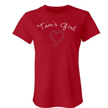 Tom's Girl Rhinestone Tee Junior Fit Bella Crewneck Jersey Tee