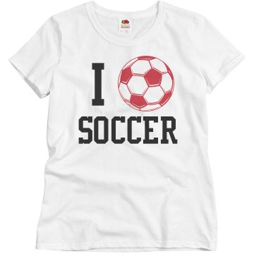 I Heart Soccer T Misses Relaxed Fit Basic Gildan Heavy Cotton Tee