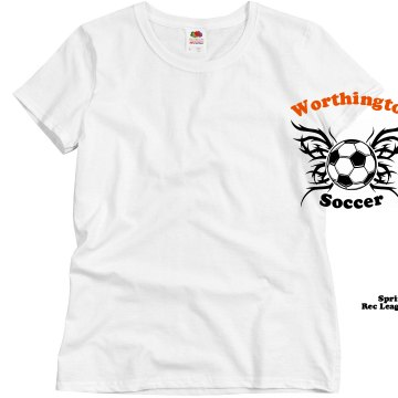Worthington Soccer T Misses Relaxed Fit Basic Gildan Heavy Cotton Tee