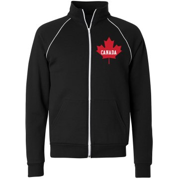 Canada Maple Leaf Unisex Canvas Fleece Full Zip Track Jacket