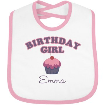 Birthday Girl Infant Bella Baby 1x1 Rib Reversible Bib
