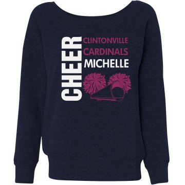 Cheer Sweatshirt Junior Fit Bella Triblend Slouchy Wideneck Sweatshirt