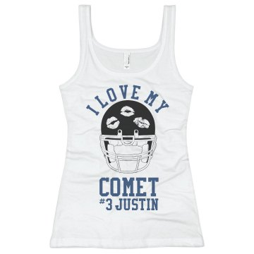 Love My Comet Football Junior Fit Bella Sheer Longer Length Rib Racerback Tank Top