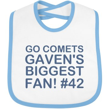 Comets Fan Bib Infant Bella Baby 1x1 Rib Reversible Bib