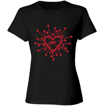Valentine&#x27;s Initials Tee Misses Relaxed Fit Bella Missy Long Sleeve Tee