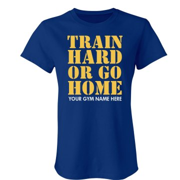 Train Hard Gym Workout Junior Fit Bella Crewneck Jersey Tee