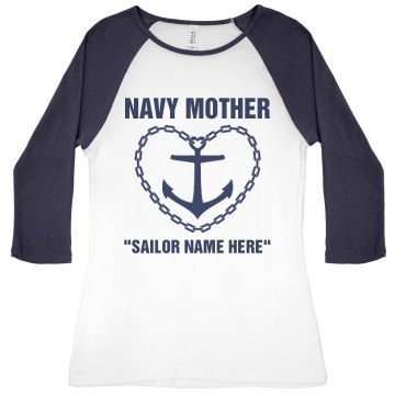 Navy Mother Emblem Junior Fit Bella 1x1 Rib 3&#x2F;4 Sleeve Raglan Tee