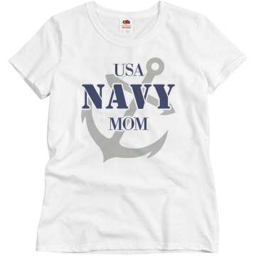 USA Navy Mom Junior Fit Basic Bella 2x1 Rib Tank Top