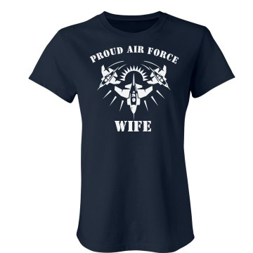 Proud US Air Force Wife Junior Fit Bella Crewneck Jersey Tee