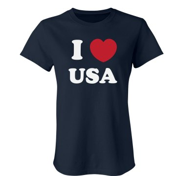 I Love USA Junior Fit Bella Crewneck Jersey Tee