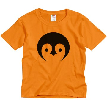 Black and Yellow Penguin Youth Gildan Heavy Cotton Crew Neck Tee