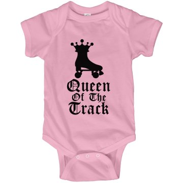 Queen Of The Track Onesie Infant Rabbit Skins Lap Shoulder Creeper