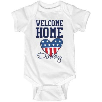 Welcome Home Daddy Infant Rabbit Skins Lap Shoulder Creeper
