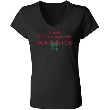 Meet Me Under Mistletoe Junior Fit Bella Long Sleeve Sheer Longer Length Rib V-Neck Tee