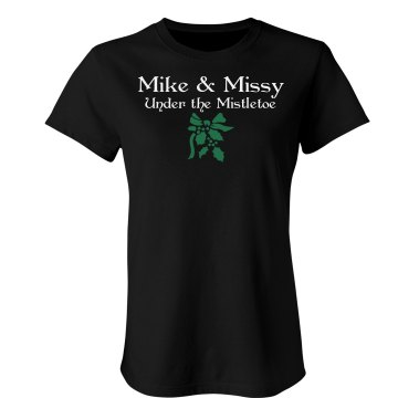 Mike & Missy Mistletoe Junior Fit Bella Crewneck Jersey Tee