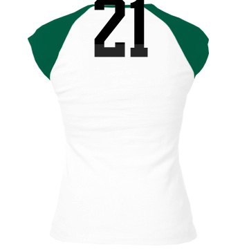 Fan Mom Football w/ Back Junior Fit Bella 1x1 Rib Cap Sleeve Raglan Tee