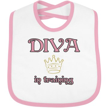 Diva In Training Infant Bella Baby 1x1 Rib Reversible Bib