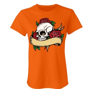 Skull & Roses on Orange Junior Fit Bella Crewneck Jersey Tee