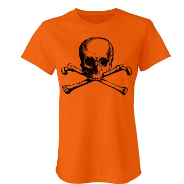 Orange Skull & Crossbones Junior Fit Bella Crewneck Jersey Tee