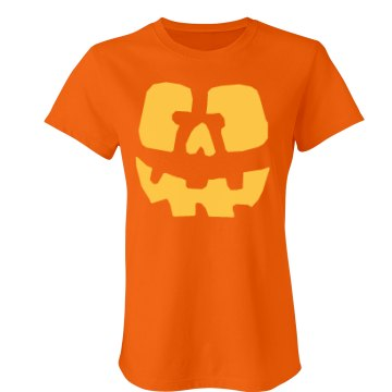 Yellow Jack O Lantern Junior Fit Bella Crewneck Jersey Tee