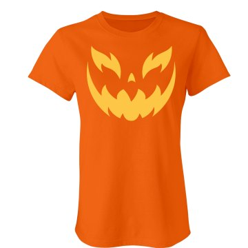Scary Jack O Lantern Junior Fit Bella Crewneck Jersey Tee
