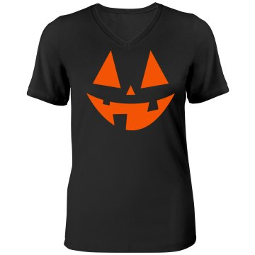 Green Jack O Lantern Misses Relaxed Fit Anvil V-Neck Tee