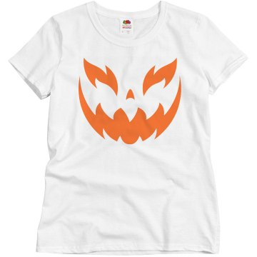 White Jack O Lantern Misses Relaxed Fit Basic Gildan Heavy Cotton Tee