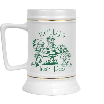 Pub Business Stein 28oz Gold Trim Ceramic Stein