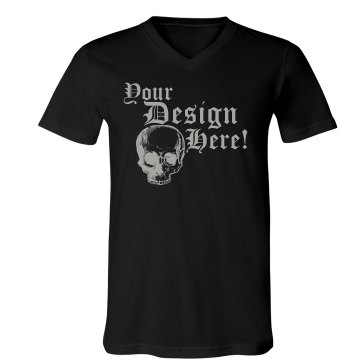 Custom Skull Tee Unisex Canvas V-Neck Jersey Tee
