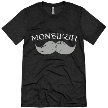 Monsieur Mustache Unisex Canvas Triblend Tee