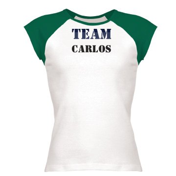 Team Carlos Junior Fit Bella 1x1 Rib Cap Sleeve Raglan Tee