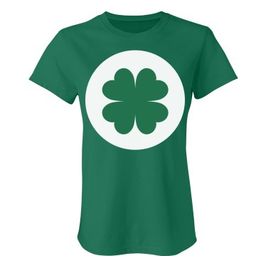 Shamrock Bear Tummy Junior Fit Bella Crewneck Jersey Tee