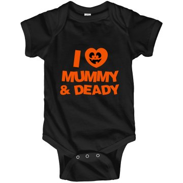 I Heart Mummy &amp; Deady Infant Rabbit Skins Lap Shoulder Creeper