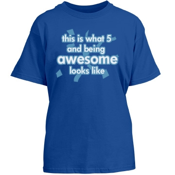 5 And Awesome Birthday Youth Gildan Heavy Cotton Crew Neck Tee