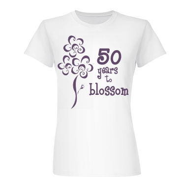 50 Years to Blossom Junior Fit Basic Bella Favorite Tee