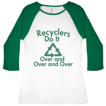 Recyclers Do It Junior Fit Bella 1x1 Rib 3/4 Sleeve Raglan Tee