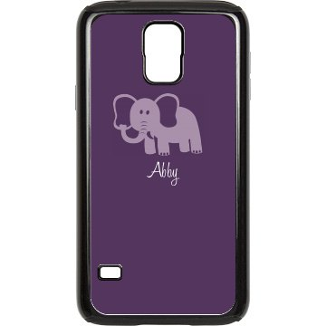 Purple Elephant With Name Rubber Samsung Galaxy S III Case Black