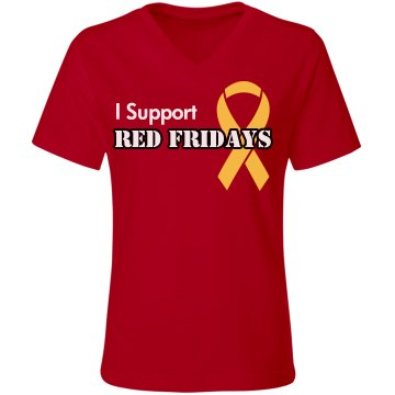 I Support Red Fridays  Misses Relaxed Fit Gildan Ultra Cotton Tee