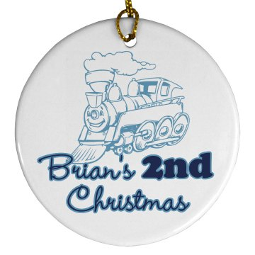 Brian&#x27;s 2nd Christmas Porcelain Circle Ornament