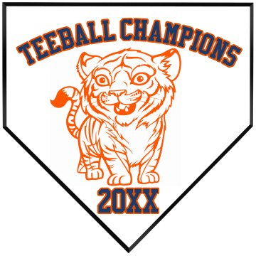 Tiger Teeball Champions Home Plate Wood Plaque