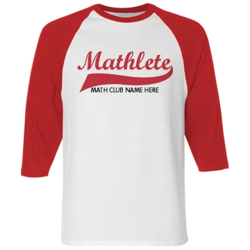 Mathlete Math Club Unisex Anvil 3&#x2F;4 Sleeve Raglan Baseball Tee