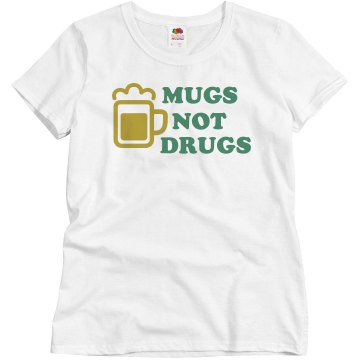 Mugs Not Drugs 2 Junior Fit Bella Sheer Longer Length Rib V-Neck Tee