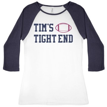 Tim&#x27;s Tight End Junior Fit Bella 1x1 Rib 3&#x2F;4 Sleeve Raglan Tee