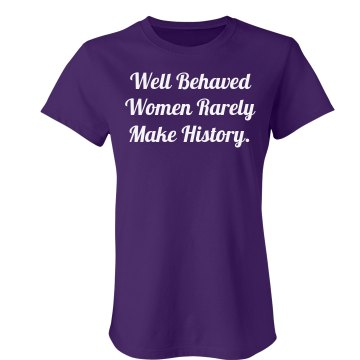 Behaved Women Tee Junior Fit Bella Sheer Longer Length Rib Tee