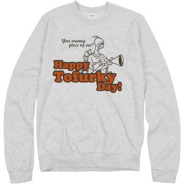 Thanksgiving Tofurky Day Unisex Hanes Crew Neck Sweatshirt