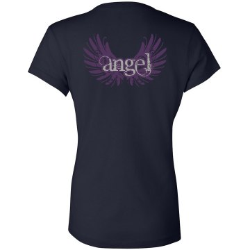 Angel Wings Junior Fit Bella V-Neck Jersey Tee