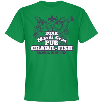Mardi Gras Pub Crawl Unisex Gildan Heavy Cotton Crew Neck Tee