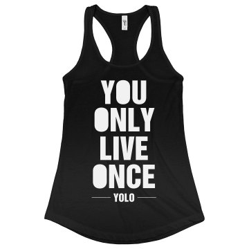 YOLO Junior Fit Bella Sheer Longer Length Rib Racerback Tank Top